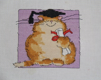 Completed cross stitch Smarty cat