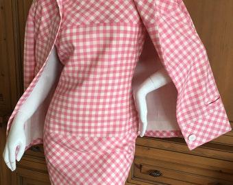Bill Blass Delightful Pink Gingham Vintage Dress & Jacket