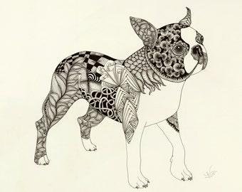 "Boston Terrier ""Boss"" Giclée Print"