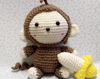 Crochet Little Monkey & Banana - Amigurumi