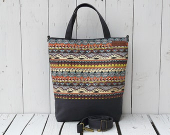 Canvas Functional Women Bag, Colorful Nappy Bag, Mothers Day, african style messenger bag, handprinted cross body, birthday present for wife