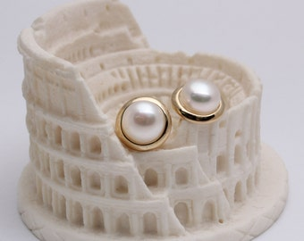 Delny 9K yellow gold freshwater pearl earring studs 150391