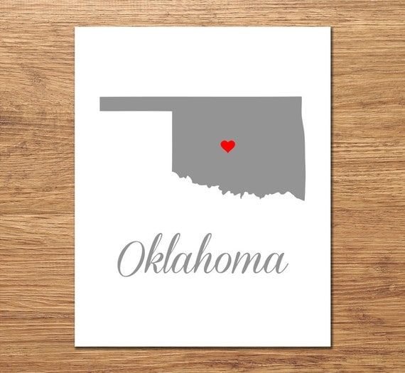 Oklahoma Art Print Oklahoma Map State Wall Art Customizable