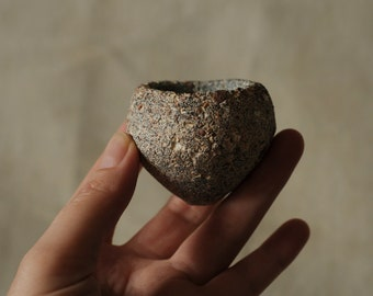 pinchpot rolled in sand, wabi sabi style