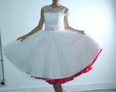 50shouse_ retro feel illusion neckline Polka dots tulle tea wedding dress_ custom make