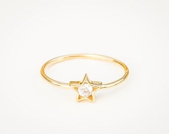 Diamond Star Ring - 14k Gold Ring - Diamond Ring - Engagement Ring - Dainty Gold Ring - Delicate Ring -