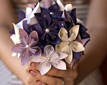 Purple Kusudama Paper Flower Bouquet