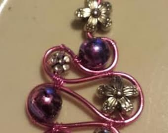 Wire and Bead Pendant-Pink