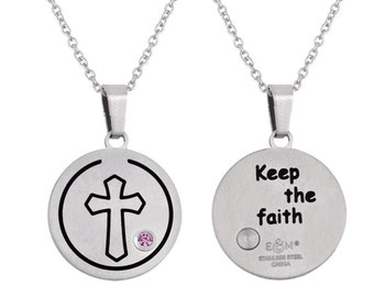 Cross Disc Pendant With Personalized Birthstone