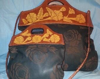 handmade leather bag and purse