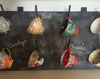Teak Sweetbay - Chalkboard Paint Mug Rack