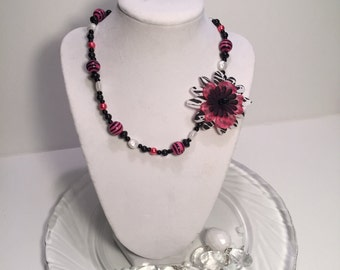 Pink Zebra Flower Accent Necklace