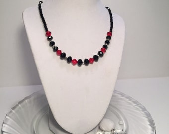 Paris Group 1- Red and Black Acrylic Bead Necklace