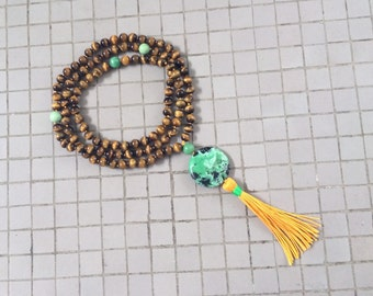 8MM Hand Knotted Natural Yellow Tiger Eye & Green Turquoise 108 Mala Tassel Necklace