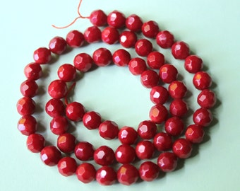 Coral Faceted Round Beads Grade AA