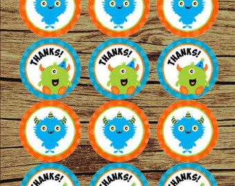 Monster Birthday Party/ Monster Favor Tags/ Monster Cupcake Toppers / Monster Stickers/ Monster Digital Tags