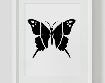 Butterfly, Minimalist, Black and White Wall Art, Printables, Instant Download, Minimalist Print, Black and White, Modern