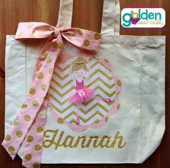 Dancing Ballerina Personalized Name Tote Bag with Fabric Bow, Gold and Pink
