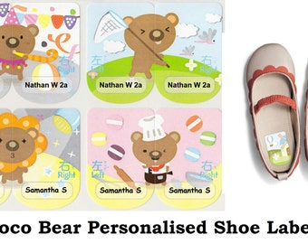 Choco Bear Personalised Shoe Name Label Stickers  - Large (46*15mm) Waterproof Labels