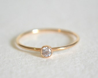 14k Solid Gold Ring, Stacking Ring, 14k Gold Ring, Dainty Ring, Stackable Ring, Simple Ring, Gold CZ Gemstone Ring