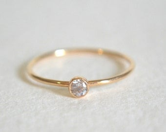 Gold CZ Ring, Gold Filled CZ Ring, CZ Ring Gold, Gold Stacking Ring, Stackable Ring, Dainty Ring, Delicate Ring