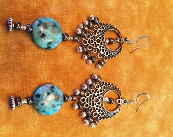 Turquois & Silver Beaded Earrings