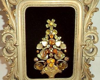 Vintage Framed Jewelry Art Christmas Tree Amber And Rhinestones