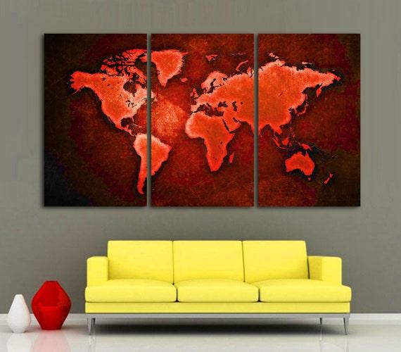 3 Panel Split Art World Map Canvas Print Triptych For: World Map Canvas Print 3 Panel Split Red Color Art . Triptych