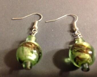 Green and Brown Earrings in Marble