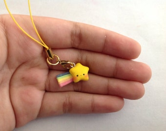Shooting star cell phone charm