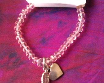 Bracelet Pink Crystal Angel Charm