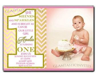 Sparkle Birthday Invitation, Blush Pink Invitation, Pink and Gold Birthday Invitation, Glitter Birthday Invitation, Gold Birthday