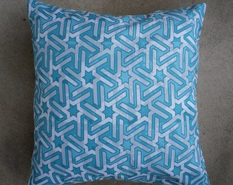 Blue geometric cushion 40 x 40 cm