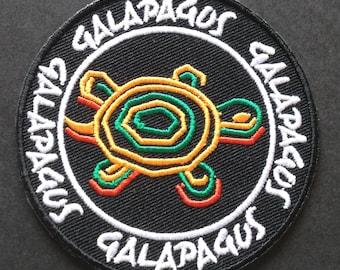 Galapagos Islands Embroidered Iron-on Patch Turtles Trekking Travel Badge Tortoise Applique Souvenir Collectible Retro Rare
