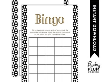 Black Gold Baby Bingo / Black White Baby Bingo / Art Deco Geometric Bingo / Triangle Bingo / Modern Glam Chic Bingo / *Digital file*