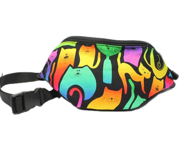 Rainbow Cats fabric - Cute Fanny Pack - Hip Waist Bag - 2 Zippers