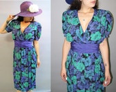 DEADSTOCK Vintage 80's, Floral BOHO 70's Sexy Wrap Top Dress, Size Small to Medium
