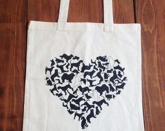 Dog Heart Tote Bag, Reusable Grocery, Canvas