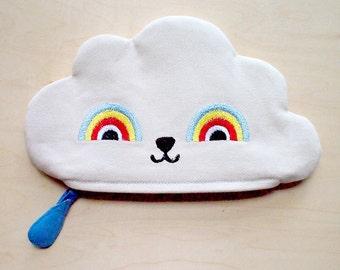 Cloud Zip Pouch, Cloud pouch, cloud purse, cloud wallet, rainbow zip pouch, rainbow pouch, rainbow purse - Rainbow Powers Cloud IV (Cream)