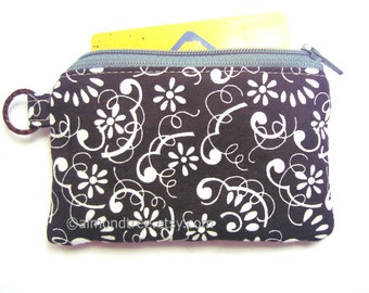 Womens Wallet Charcoal Grey Flora id1340932 padded zip pouch credit card case   coin purse   gift for her   portefeuille   Geldbörse