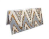 Checkbook Cover - Cream and Grey ikat chevron - zig zag checkbook holder - gray and gold modern geometric check book case