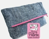 Fold-Over Clutch PDF Sewing Pattern | Fold Over Zipper Pouch Pattern | Foldover Clutch Purse Handbag Pattern