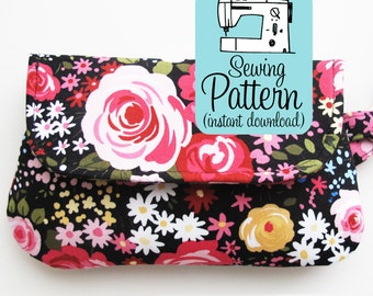 Fold Over Zip Wristlet PDF Sewing Pattern | Foldover Clutch Purse Pattern