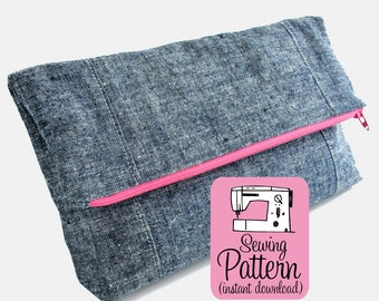 Fold-Over Clutch PDF Sewing Pattern: Sew a fold over style zip top bag with two pockets.  Makes a nice handbag, project pouch, lingerie bag.