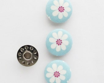 Fabric Covered Buttons 1 Inch | 3 Flower Buttons | 25mm Floral Fabric Shank Buttons | Light Blue Cotton Fabric Buttons