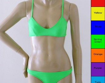 Crossback Ballet Top Two Piece Bikini in Red, Yellow, Green, Blue, Orange, Purple, Turquoise in S M L XL