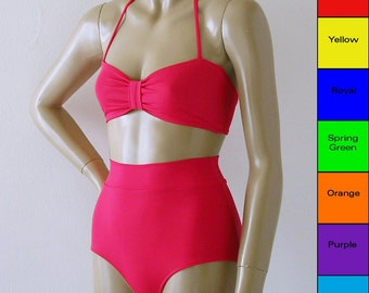 High Waisted Bikini Bottom and Retro Bandeau Top in Red, Blue, Green, Orange, Purple, Turquoise, Yellow in D Cups Too