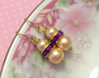 Pearl Earrings, Pearl and Purple Rhinestone Earrings, Gold Toned Surgical Steel Ear Wires