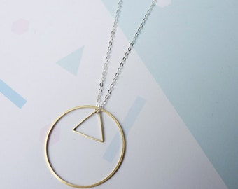 Circle and Triangle Necklace- Sterling Silver Circle and Triangle Necklace Geometric