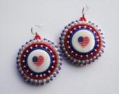 Native American Beaded Earrings Heart USA Flag